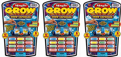 JA-RU Magic Grow Capsules (3 Packs 36 Capsules) Best Growing Animals Dinosaurs Capsules Bath Toys for Kids. and 1 Bouncy Ball. Bulk Supply. 305-3p
