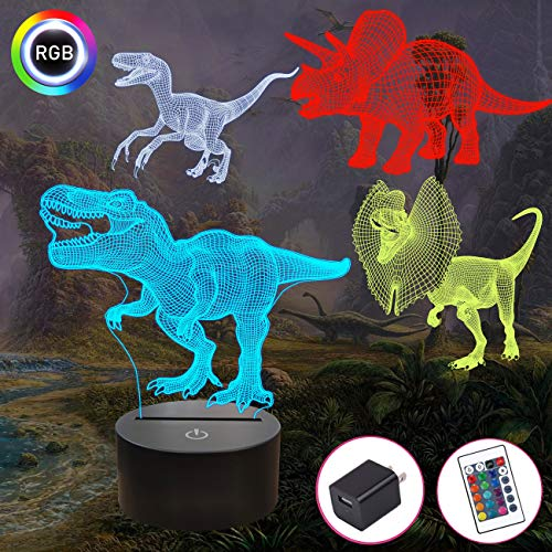 Dinosaur Gifts, T-rex Dinosaur 3D Night Light for Kids (4 Patterns) with Remote Control & 16 Colors Changing & Dimmable Function & Gift Wrap, Xmas Birthday Gifts for Boy Girl