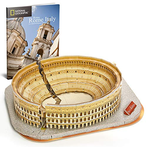CubicFun National Geographic 3D Puzzle for Adults Kids Rome Colosseum Jigsaw Italy Architecture Model Kits DIY Toys with Booklet Gift for Boys Girls Age 10+, 131 Pieces