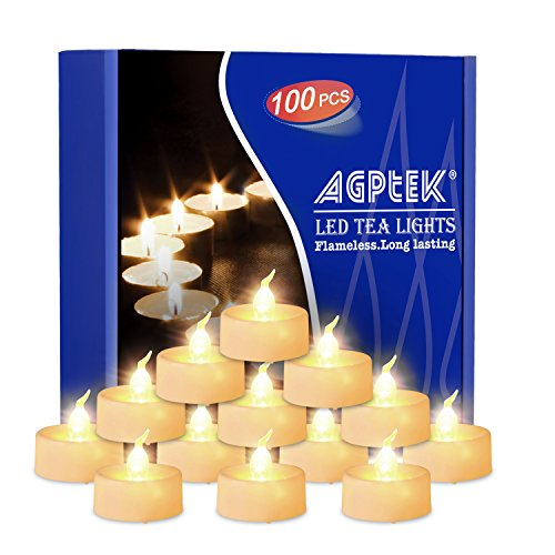 AGPtek 100 PACK No flicker Flameless LED Candles Battery-Operated Tealights for Wedding Holiday Party Home Decoration-Warm White