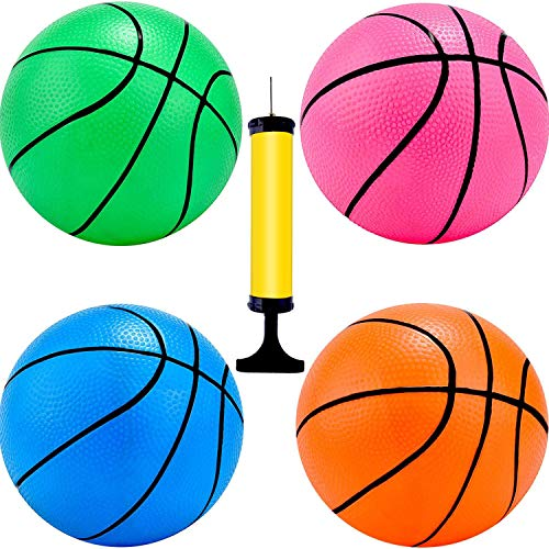 4 Pieces Mini Basketball Inflation Mini Ball with Pump and Basketball Needles (4 Inch)