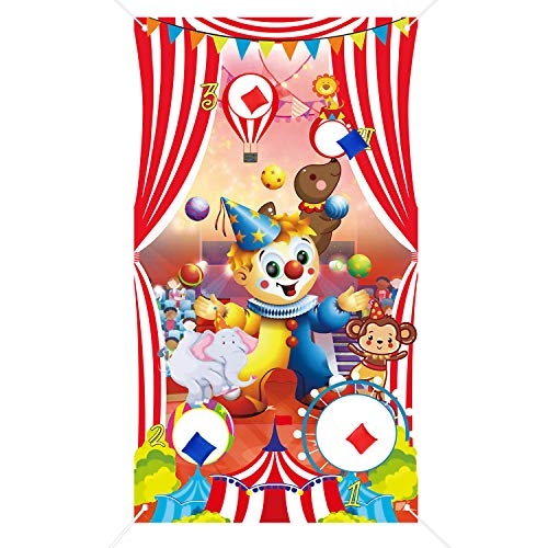 Byhoo Carnival Toss Games with 4 Bean Bag Fun Carnival Game for Kids Adults for Carnival Party Holiday Activities Great Carnival Decorations & Suppliers (Clown, Monkey, Circus)