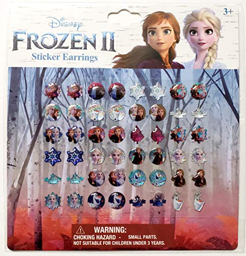 Disney Frozen Sticker Earrings - Set of 48 (24 Pairs) Features Olaf, Anna & Elsa