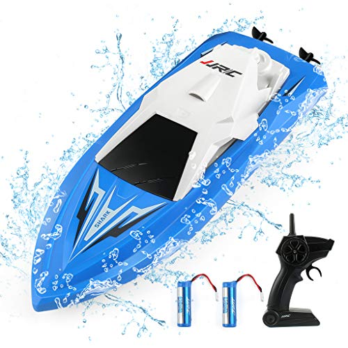 JJRC RC Boats Boat Toys for Pools and Lakes Remote Control Boats for Kids Adults 2.4Ghz Radio Controlled Boat Self Righting Rechargeable 10km/h High Speed Race Boat Gifts for Boys Girls (Blue)