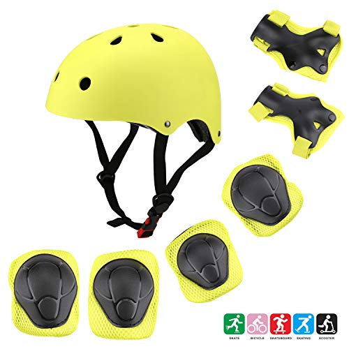 Kuulla Kids Toddler Protective Gear Set - 3 to 8 Years Old - Unisex for Girls and Boys - Helmet and Pads - Elbow Knee Skateboard Gear - Other Extreme Sports Activities (Yellow-Green)