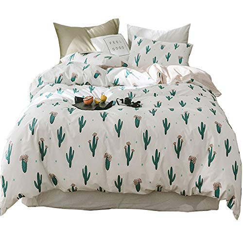HIGHBUY Teen Girls Cactus Bedding Sets Twin Cotton Duvet Cover Twin White Comforter Cover Set 3 Pieces Reversible Cactus Duvet Cover for Kids College Children Twin Bedding Collection,Lightweght Soft