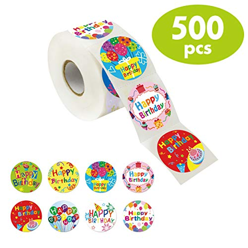 500 Pcs Adorable Round Happy Birthday Stickers in 8 Designs with Perforated Line Expanded Version (Each measures 1.5