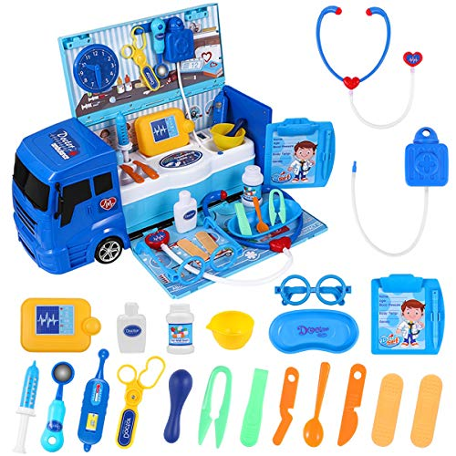 iBaseToy Doctor Kit for Kids with Ambulance Toy, 32 Pieces Pretend Play Medical Kit Set for Boys Girls Toddler | Kids Doctor kit with Carrying Vehicle Case