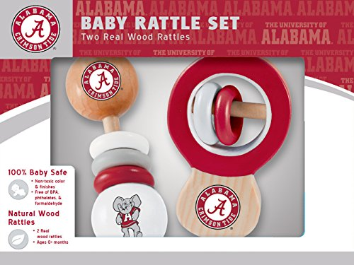 MasterPieces NCAA Alabama Crimson Tide Baby Rattle, 2-Pack