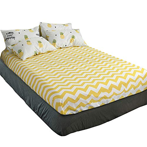 HIGHBUY Yellow Geometric Wave Print Fitted Sheets Twin Size 100 Percent Cotton Soft Deep Pocket for Kids Bedding Cotton Sheet 1pc,Twin 37Inches by 75Inches All Around Elastic with 15 Inches Pocket
