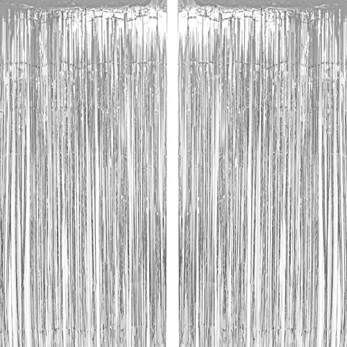 Silver Tinsel Foil Fringe Curtains Winter Wonderland Baby Shower 1st Birthday Wedding Happy New Years Christmas Graduation Party Decor Photo Booth Props Backdrops Decorations, 2pc