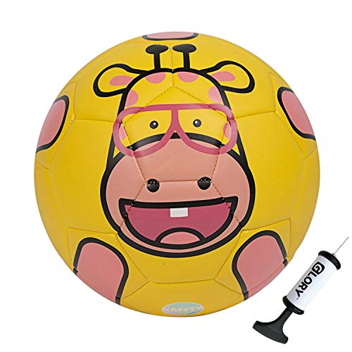GLORY Kids Soccer Ball with Pump Zoo Tribe TPU Toddler Cartoon Ball Indoor Outdoor (Giraffe, 3)