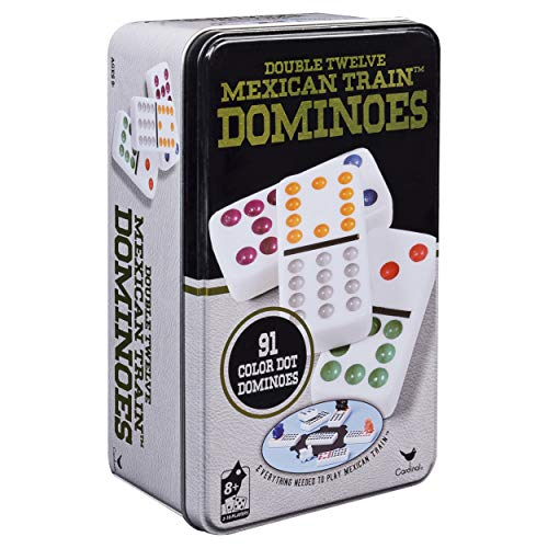 Double Twelve Mexican Train Dominoes in Tin