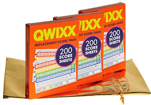 QWIXX 3 Replacement Score Pad Packs _ 600 Score Sheets _ Bonus Gold Metallic Cloth Drawstring Pouch _ Bundled Items