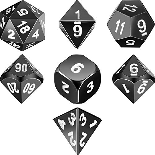 Frienda Zinc Alloy Metal Polyhedral 7-Die Dice Set for Dungeons and Dragons RPG Dice Gaming D&D Math Teaching, d20, d12, 2 Pieces d10 (00-90 and 0-9), d8, d6 and d4 (Shiny Black and White)