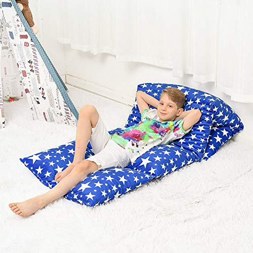 Kid's Floor Lounger Seats Cover and Pillow Bed Cover, Perfect for Reading and Watching TV Cushion, Great for SLEEPOVERS Slumber Parties,Boys and Girls' Favorite (Pillows Not Included)… (BlueStar)