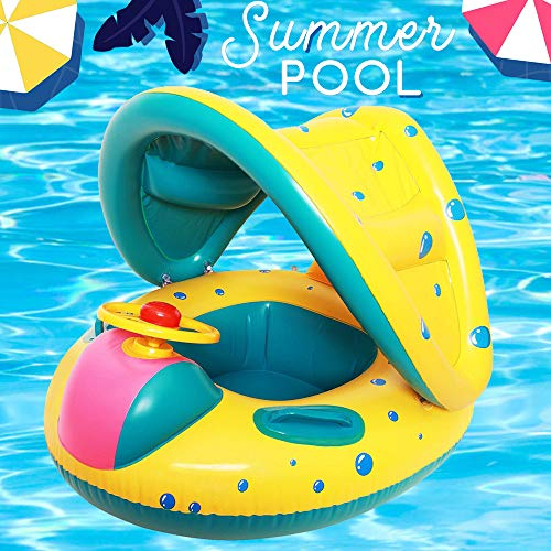 Here Fashion Baby Pool Float Inflatable Swimming Ring with Safety Seat Adjustable Sunshade Canopy for Age 6-36 Months Old Infant Toddler