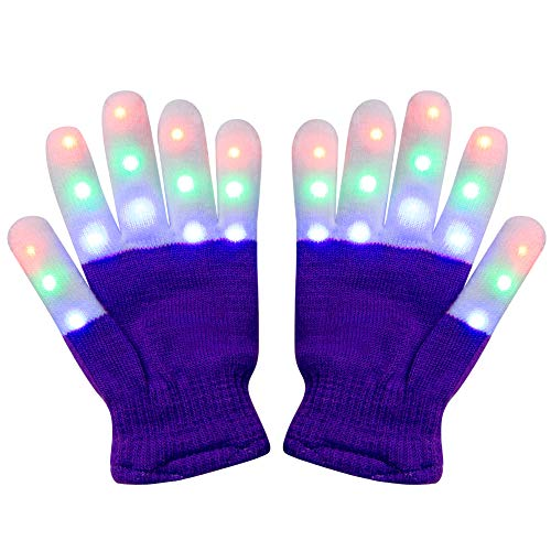 Amazer Kids Light Gloves Children Finger Light Flashing LED Warm Gloves with Lights for Birthday Light Party Christmas Xmas Dance Thanksgiving Day Gifts for More Fun- Purple