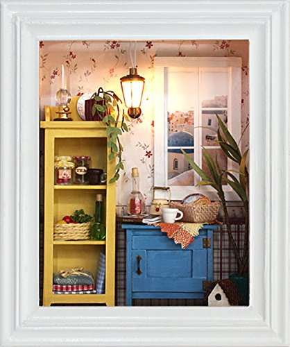 Flever Dollhouse Miniature DIY House Kit Creative Room with Furniture and Frame Type for Romantic Valentine's Gift(Warm Dawn)