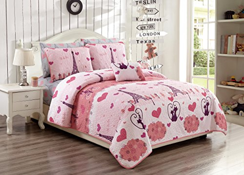 MK Home 3pc Twin/Twin XL Bedspread Set for Girls Paris Bedding Eiffel Tower Pink Grey New