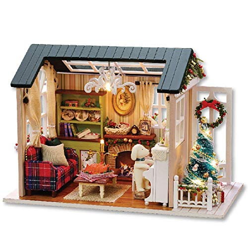 Flever Dollhouse Miniature DIY House Kit Creative Room with Furniture for Romantic Artwork Gift(Holiday Time Plus Dust Proof)