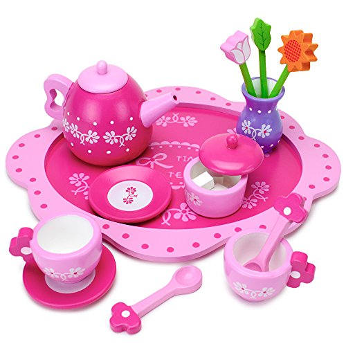 Wood Eats! Pink Blossoms Tea Time Set for Two (16pcs.) by Imagination Generation