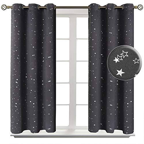 BGment Kids Blackout Curtains for Bedroom - Grommet Thermal Insulated Silver Star Print Room Darkening Curtains for Living Room, Set of 2 Panels (38x45 Inch, Grey)
