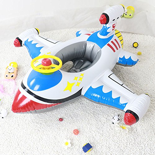 Topwon Summer Fun Swimming Toy - Kids Pool Float Airplane Float for Toddler,(Inflatable Plane - White)