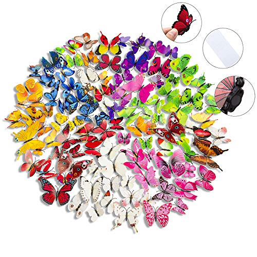 108 x PCS 3D Colorful Butterfly Wall Stickers Decal DIY Art Decor Crafts for Party Cosplay Wedding Offices Bedroom Living Room Magnets and Glue Sticker Set