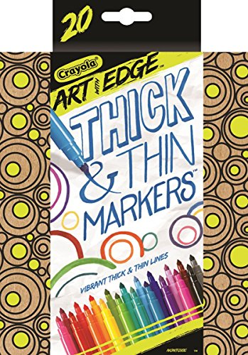 Crayola Thick and Thin Markers, Conical Tip Markers, 20 Count