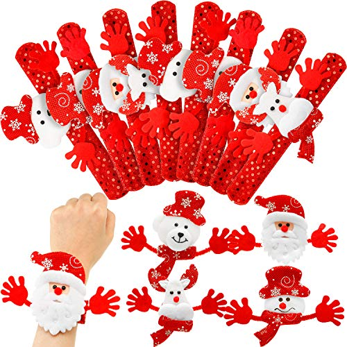 20 Pieces Glitter Christmas Slap Bracelets Christmas Snap Bracelet Party Favors Xmas Slap Bands Include Santa Claus Snowman Reindeer Bear Christmas Decorations for Girls and Boys