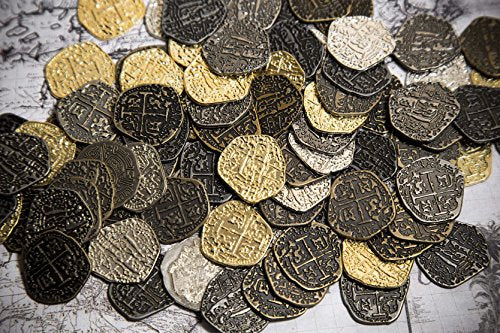Metal Pirate Coins - 200 Gold and Silver Spanish Doubloon Replicas - Fantasy Metal Coin Pirate Treasure - Gold, Silver, Antique and Rustic Style Finishes by Beverly Oaks
