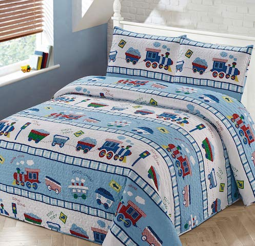 Luxury Home Collection 2 Piece Twin Size Quilt Coverlet Bedspread Bedding Set for Kids Teens Boys Girls Trains Light Blue White Green Red Yellow