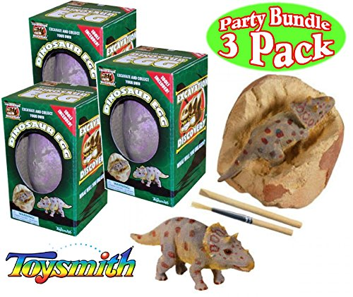 Toysmith Dinosaur Egg Excavation Kit Party Set Bundle - 3 Pack (Assorted)
