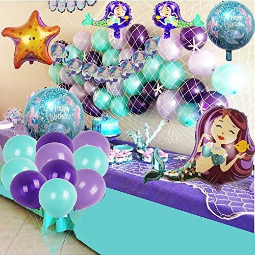Mermaid Party Supplies Set Decoration,Mermaid Bunting Banner,Fish net,Latex Balloons,Mermaid Balloons for Girl's Party Under the Sea Theme Bridal and Baby Shower Mermaid Party D�cor
