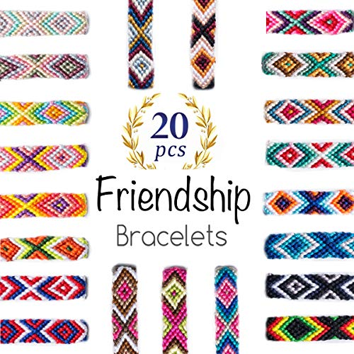 iShyan Woven Friendship Bracelets 20 Pcs Braided Bracelets Handmade Colorful Adjustable String Bracelets,1cm