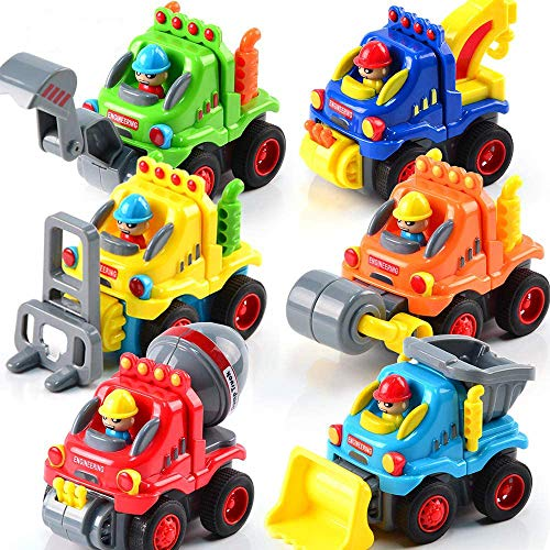 FLY2SKY 6 Pack Toy Trucks for Toddlers 1 2 3 Years Old Toddler Toys for 1 Year Old Boys Push and Go Construction Vehicles Toys Friction Powered Toy Cars Birthday Gifts for Boys Kids