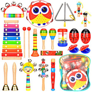 Amagoing Kids Musical Instruments, Wooden Percussion Instruments Baby Toy for Preschool Educational with Storage Backpack