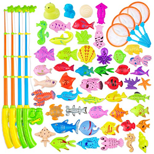 AUUGUU Magnetic Fishing Game Water Toy – 4 Fishing Poles with Working Reels, 4 Nets and 50 Colorful Magnetic Fish for Kiddie Pool, Water Table or Bath Fun – Toddler Toy for Ages 3-5 (58 Pieces)