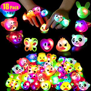 Mikulala Birthday Party Favors for Kids Prizes Flashing 18 Pack LED Jelly Light Up Rings Toys Bulk Boys Girls Gift Blinky Glow in The Dark Party Supplies, 18 Shape