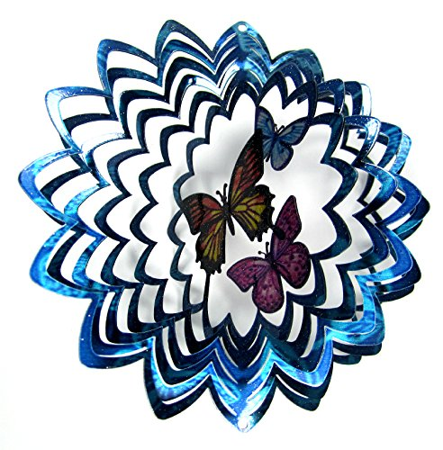 WorldaWhirl Whirligig 3D Wind Spinner Hand Painted Stainless Steel Twister Butterfly (6.5