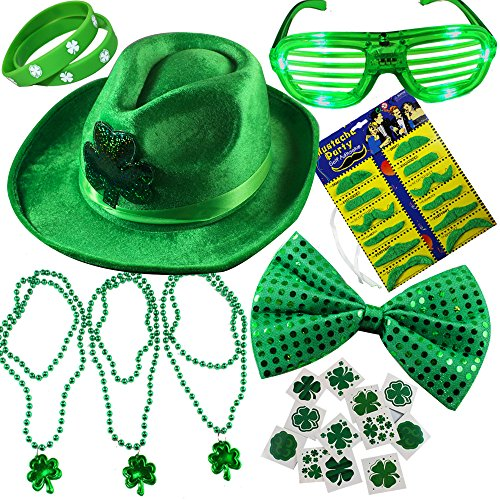 JOYIN 32 Pcs St. Patrick's Day Accessory Saint Patricks Party Favors with St Patricks Shamrock Fedora Hat, Beads Necklace Mustaches Sequin Bow Light-up Glasses Temporary Tattoos and Rubber Bracelets.