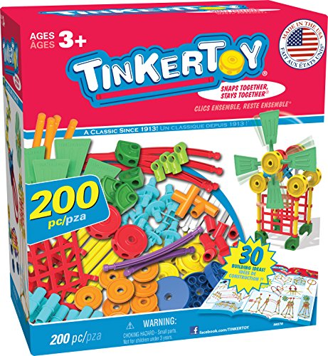 TINKERTOY 30 Model 200 Piece Super Building Set - Preschool Learning Educational Toy for Girls and Boys 3+ (Amazon Exclusive)