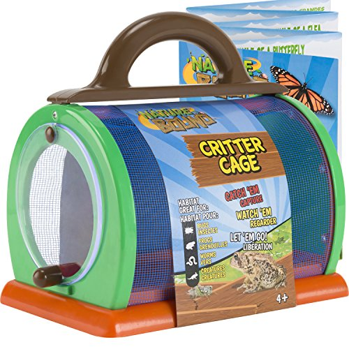 Nature Bound Toys Critter Cage Bug Catcher and Habitat Kit, Insect Netting, and Activity Booklet, Green, for Kids, 8.5