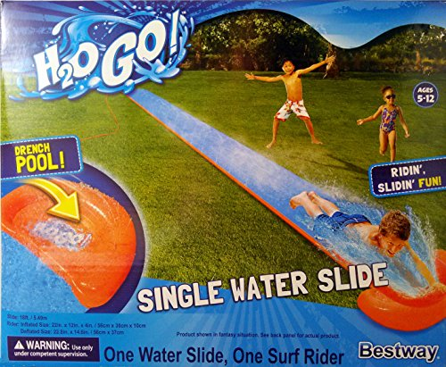 Bestway H2O GO! 18ft. Single Water Slide with Drench Pool and Surf Rider! Ages 5-12