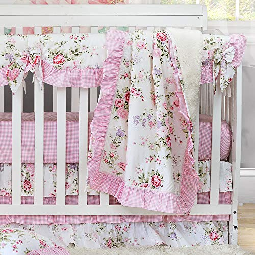 Brandream Baby Girl Crib Bedding Sets 100% Cotton Percale Springtime Flowers Nursery Bedding Set
