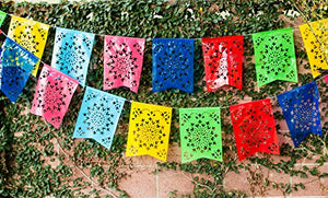 Paper Full of Wishes I Mexican Plastic Fishtail Shaped Papel Picado Banner I Flor de Sol I Multi-Color Ideal for Mexican Themed Celebrations