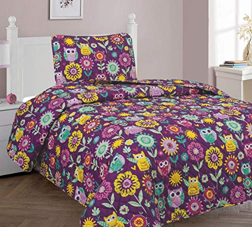Goldenlinens Twin Size 2 Pieces (1pc Bedspread & 1 Pillow Sham) Purple Owl Flower Printed Kids Bedspread/Coverlet Sets/Quilt Set # Owl Twin Quilt