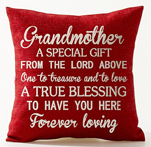 Best Gift for Mother Grandmother A from The Lord Above One The Treasure and to Love Red Cotton Linen Throw Pillow Case Cushion Cover Home Office Decorative Square 18 X 18 Inches ��