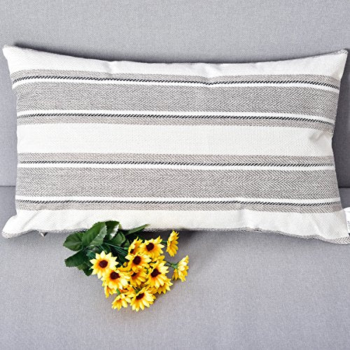 NATUS WEAVER Multi Color Stripe Pillow Cases Soft Linen Square Decorative Throw Cushion Cover Pillowcase with Hidden Zipper for Sofa - 12